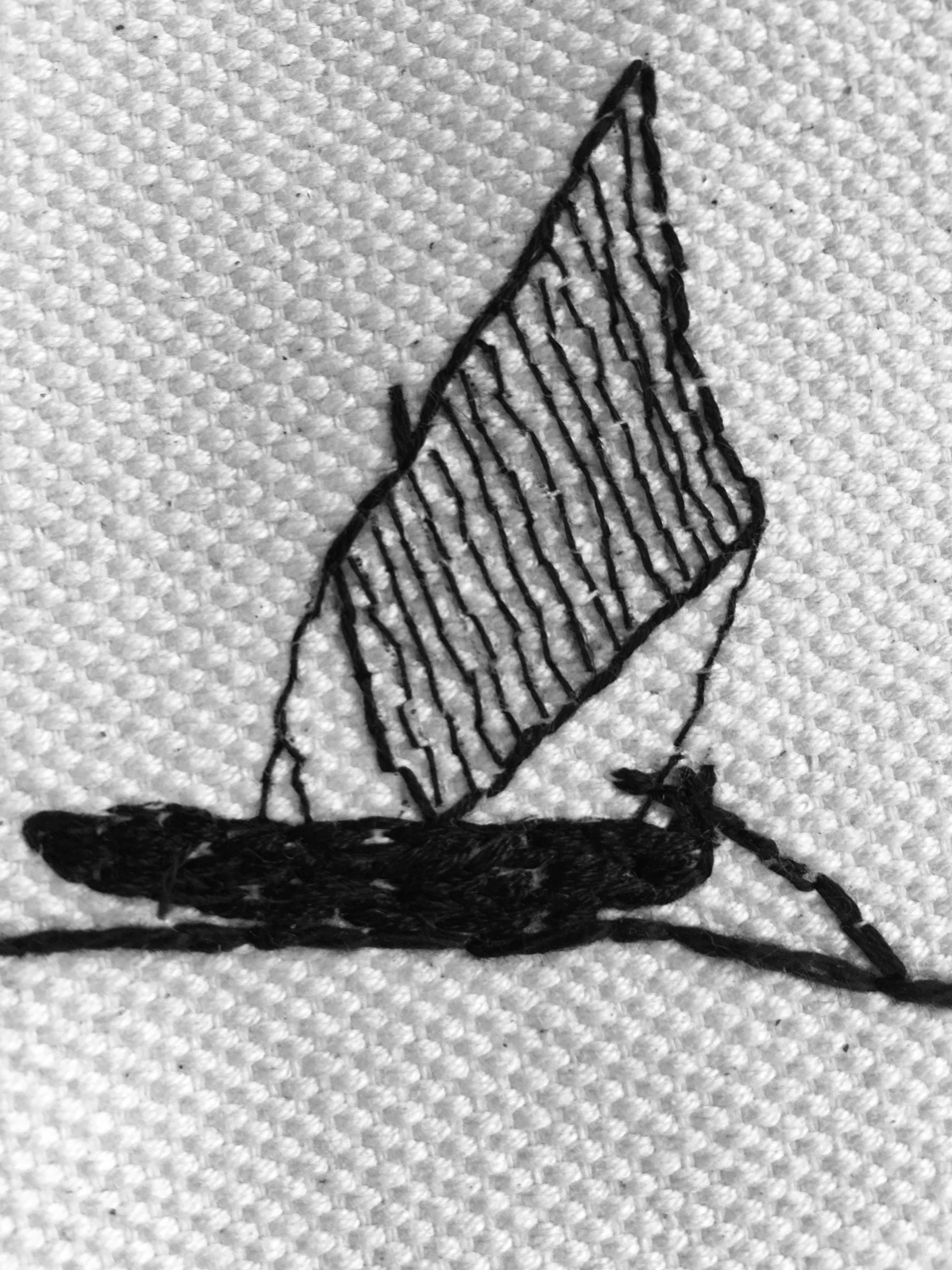 Embroidered boat detail