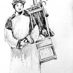 Umbrella Seller, Drawn by Dorothy Worchester